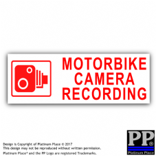 1 x Motorbike Camera Recording-150mmx50mm-Red on White-Security Stickers-CCTV Signs-Motorbike